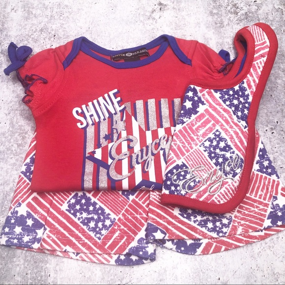 Enyce Other - ENYCE Infant Girl Onesie Short Bib Bundle Set NWT